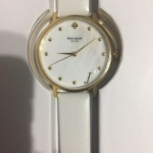 "Kate Spade NY ""J"" Initial White Watch"